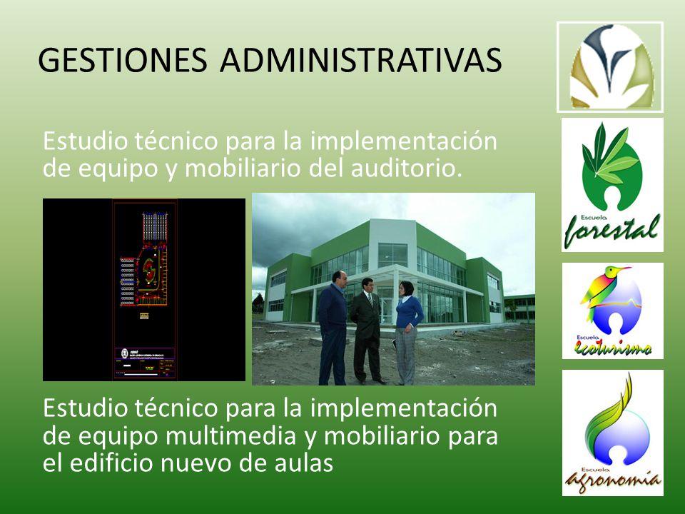 GESTIONES ADMINISTRATIVAS Estudio técnico para la implementación de equipo y mobiliario del auditorio.