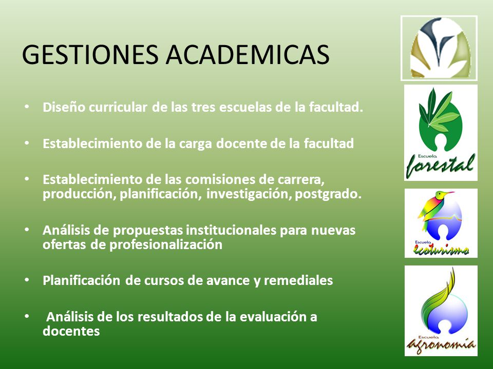 GESTIONES ACADEMICAS Diseño curricular de las tres escuelas de la facultad.