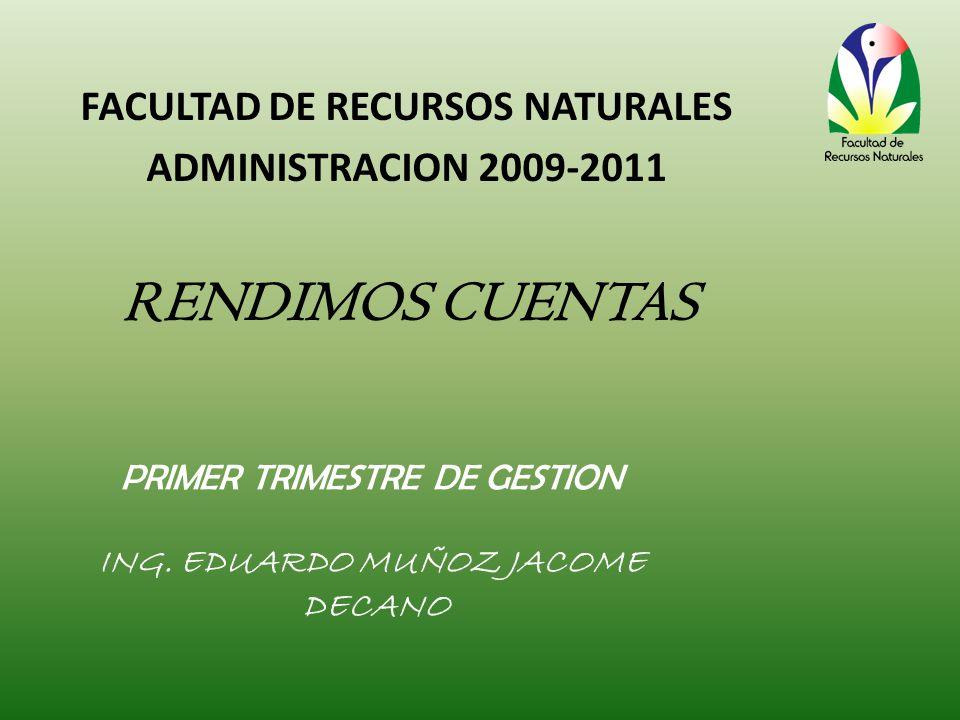 RENDIMOS CUENTAS PRIMER TRIMESTRE DE GESTION ING.