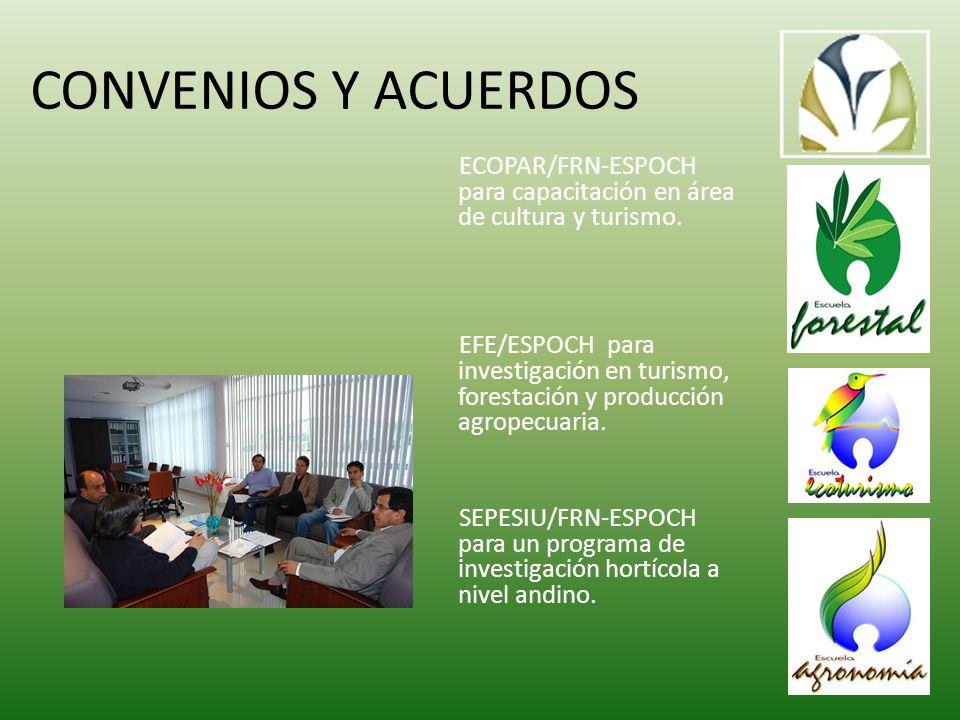 CONVENIOS Y ACUERDOS ECOPAR/FRN-ESPOCH para capacitación en área de cultura y turismo.