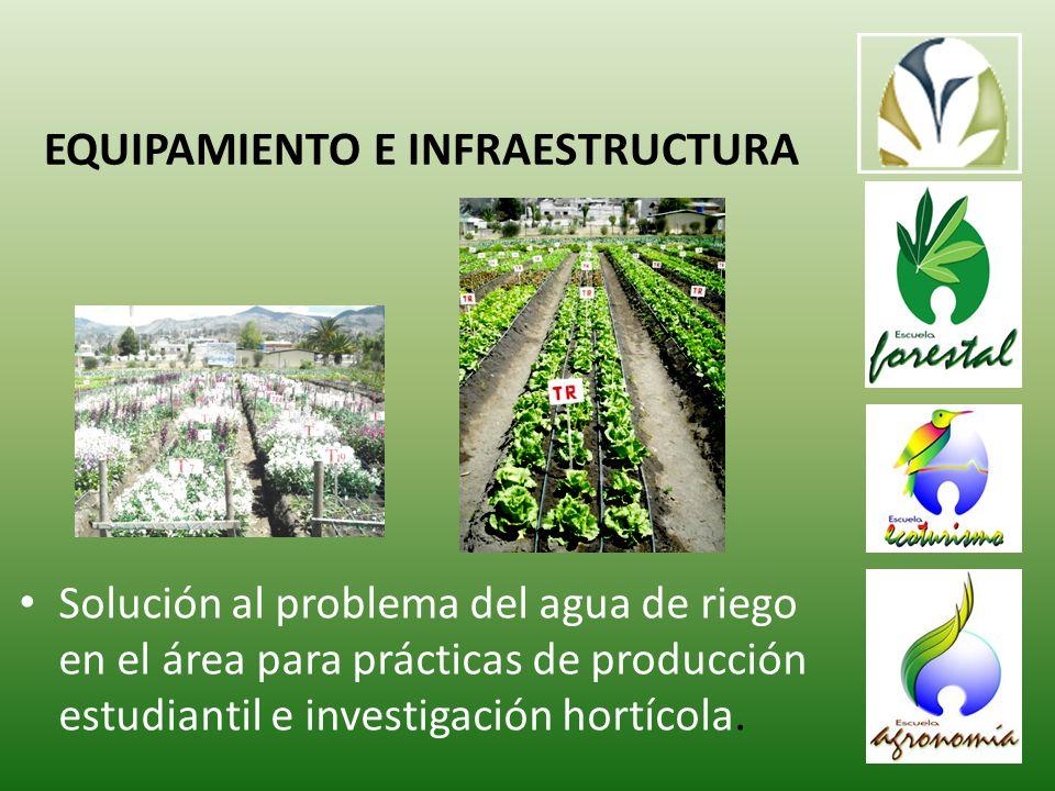 Solución al problema del agua de riego en el área para prácticas de producción estudiantil e investigación hortícola.