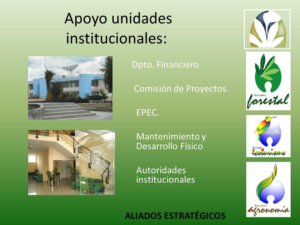 Apoyo unidades institucionales: Dpto.Financiero. Comisión de Proyectos.