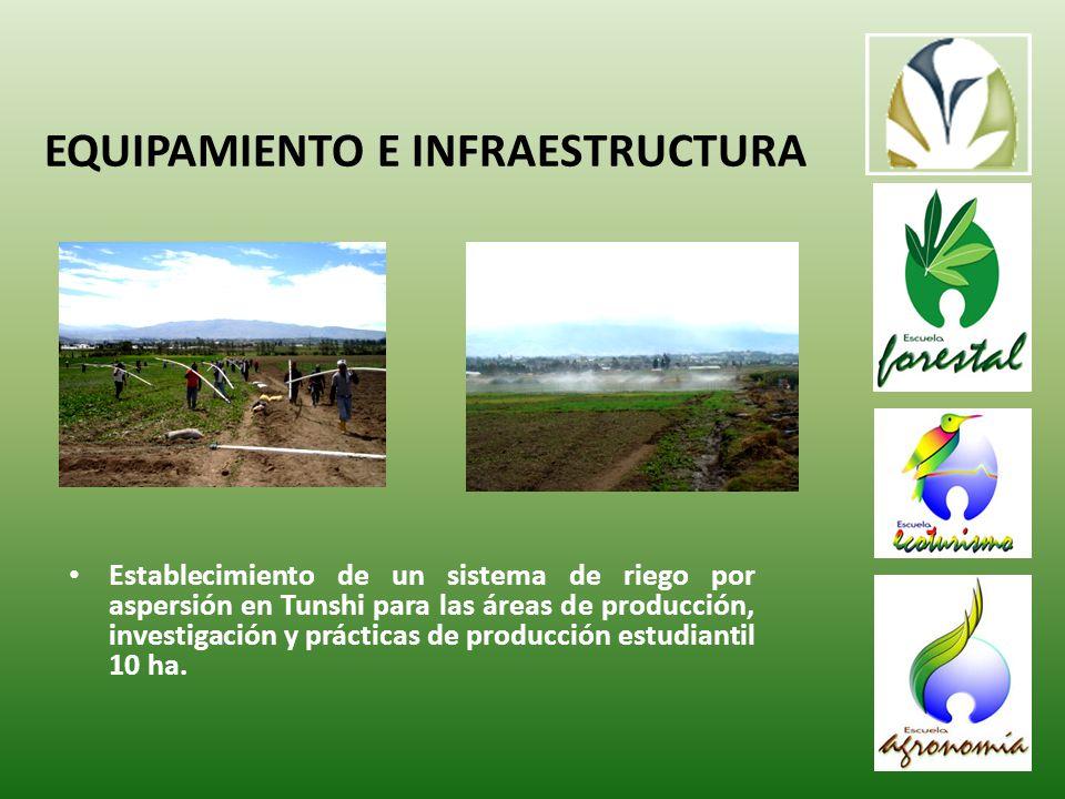 Establecimiento de un sistema de riego por aspersión en Tunshi para las áreas de producción, investigación y prácticas de producción estudiantil 10 ha.