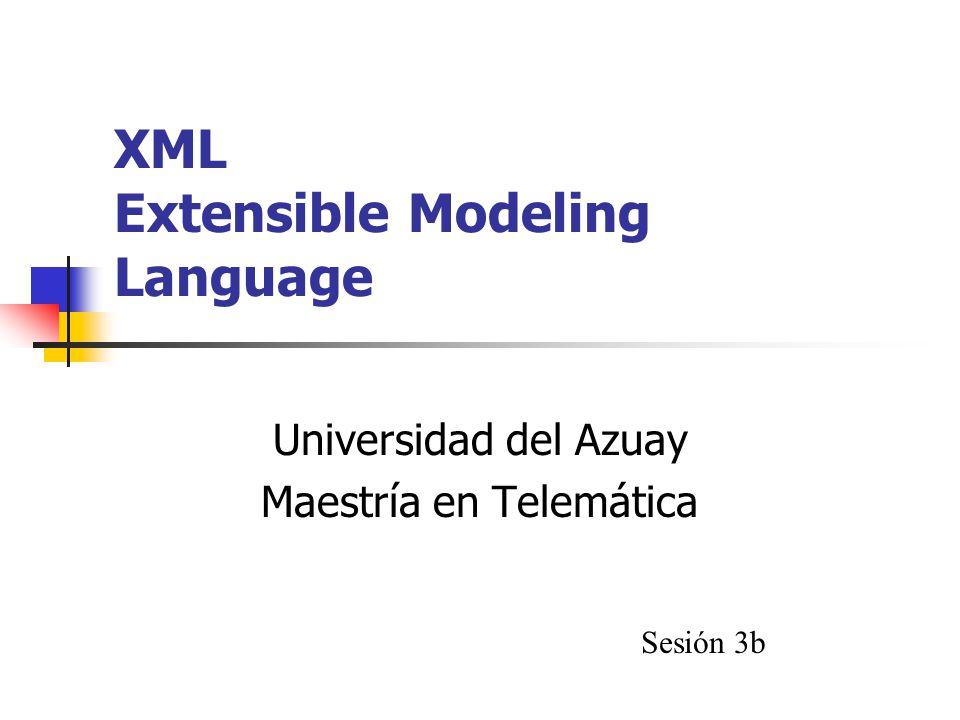 XML Extensible Modeling Language Universidad del Azuay Maestría en Telemática Sesión 3b