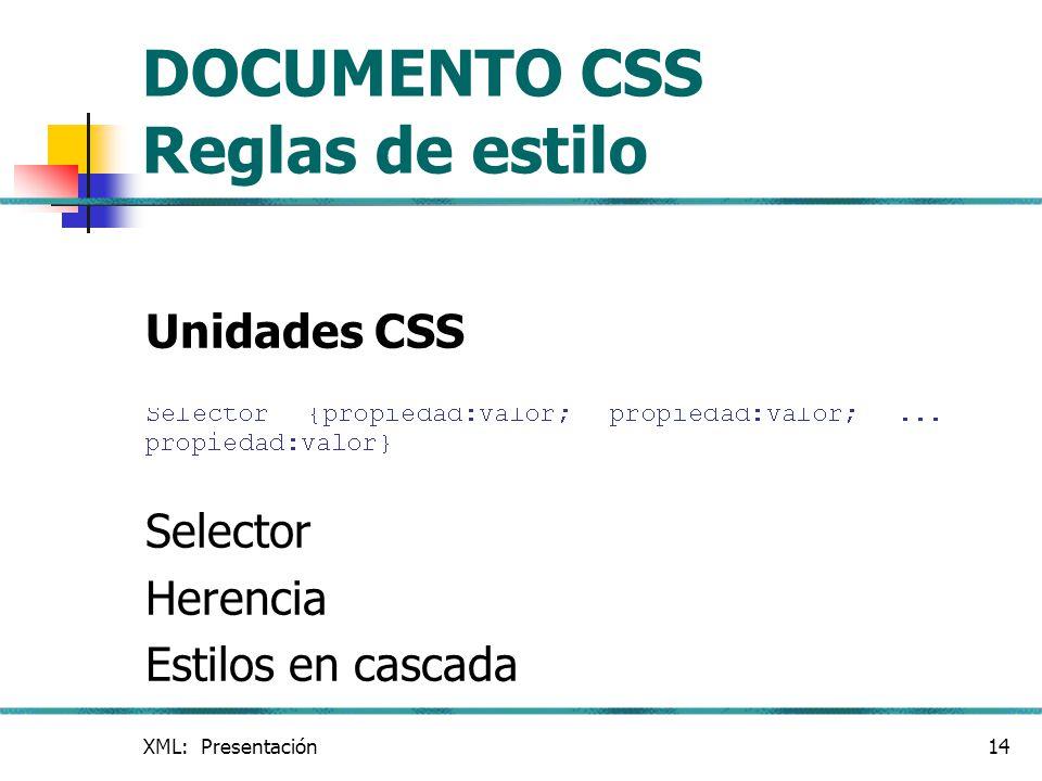 XML: Presentación14 DOCUMENTO CSS Reglas de estilo Unidades CSS Selector Herencia Estilos en cascada