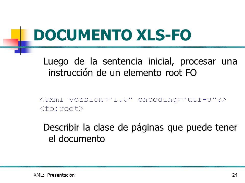 XML: Presentación24 DOCUMENTO XLS-FO Luego de la sentencia inicial, procesar una instrucción de un elemento root FO Describir la clase de páginas que