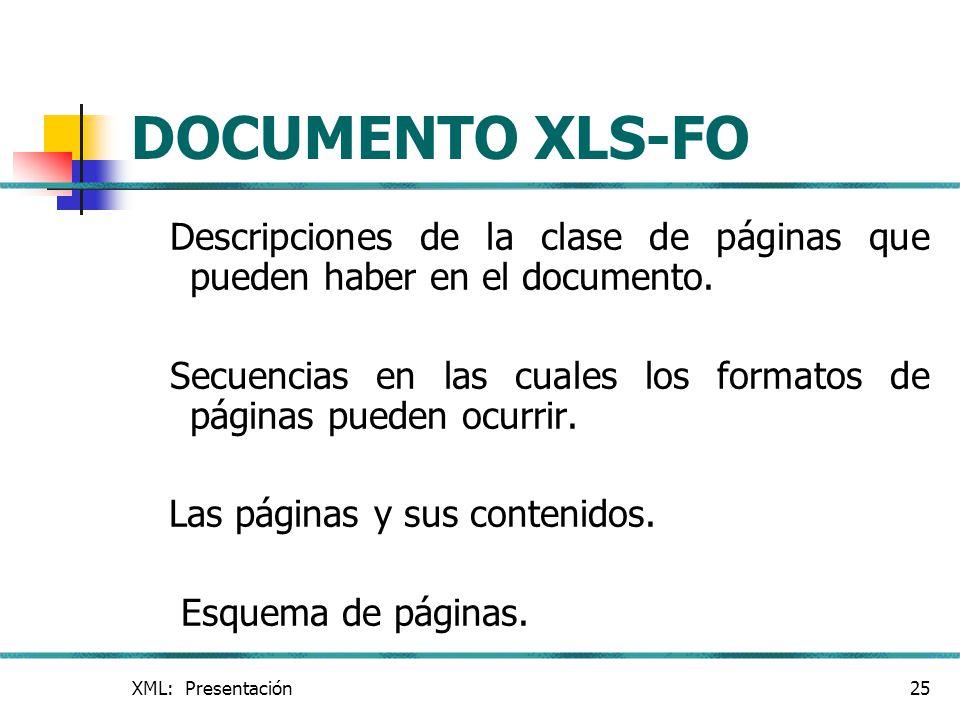 XML: Presentación25 DOCUMENTO XLS-FO Descripciones de la clase de páginas que pueden haber en el documento. Secuencias en las cuales los formatos de p