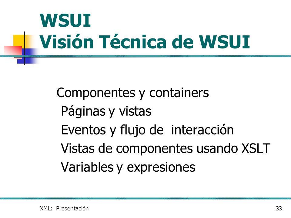 XML: Presentación33 WSUI Visión Técnica de WSUI Componentes y containers Páginas y vistas Eventos y flujo de interacción Vistas de componentes usando