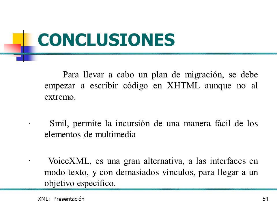 XML: Presentación54 CONCLUSIONES Para llevar a cabo un plan de migración, se debe empezar a escribir código en XHTML aunque no al extremo. · Smil, per
