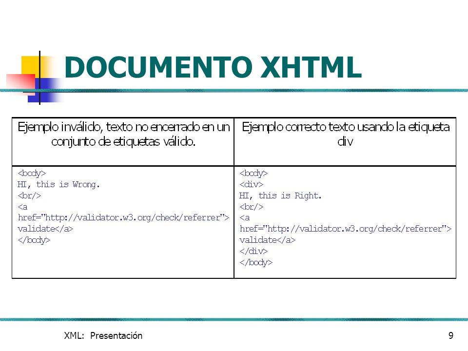 XML: Presentación20 DOCUMENTO XSL I Iniciar con xsl: stylesheet define el inicio de la hoja de estilo.