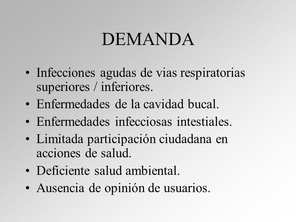 DEMANDA Infecciones agudas de vias respiratorias superiores / inferiores.
