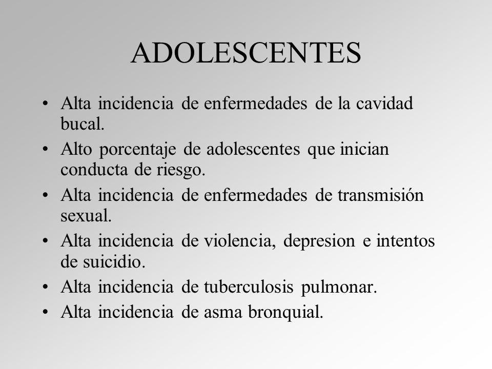 ADOLESCENTES Alta incidencia de enfermedades de la cavidad bucal.