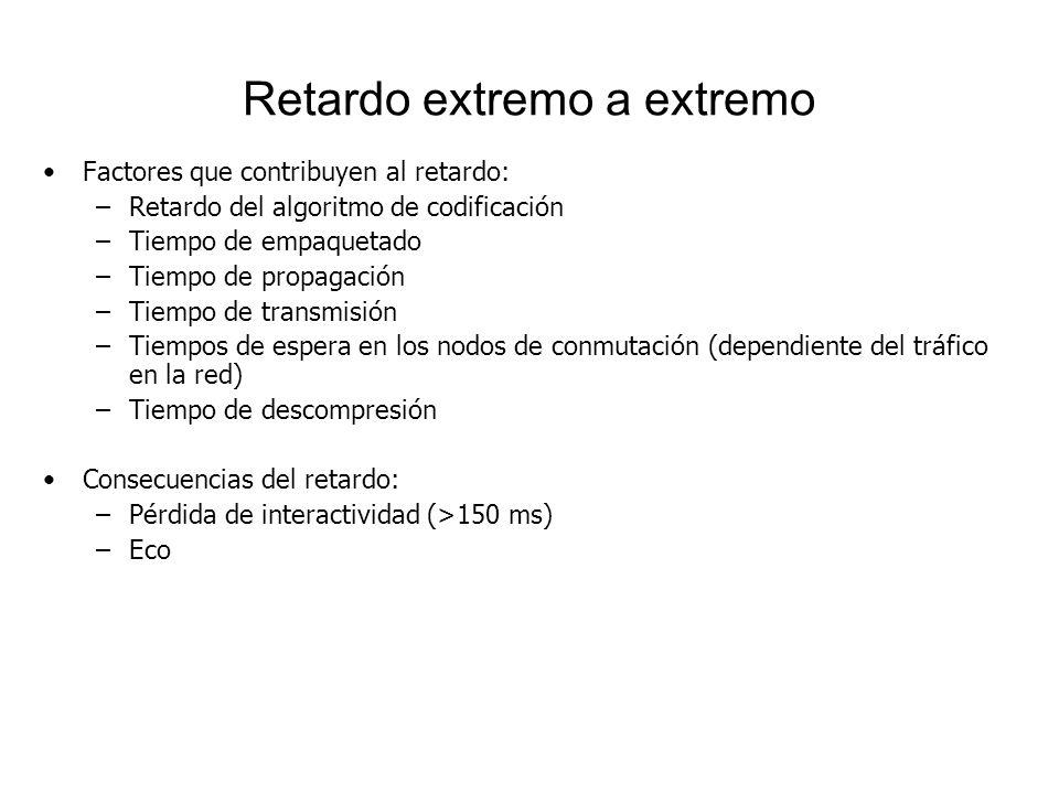 Retardo extremo a extremo Factores que contribuyen al retardo: –Retardo del algoritmo de codificación –Tiempo de empaquetado –Tiempo de propagación –T