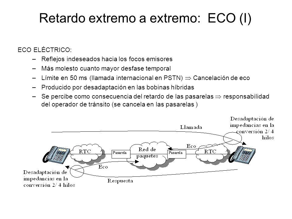 Retardo extremo a extremo: ECO (I) ECO ELÉCTRICO: –Reflejos indeseados hacia los focos emisores –Más molesto cuanto mayor desfase temporal –Límite en