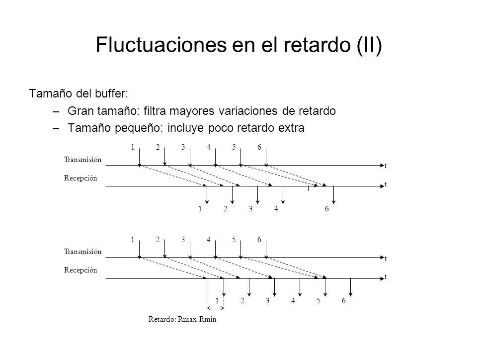 Fluctuaciones en el retardo (II) Tamaño del buffer: –Gran tamaño: filtra mayores variaciones de retardo –Tamaño pequeño: incluye poco retardo extra 12