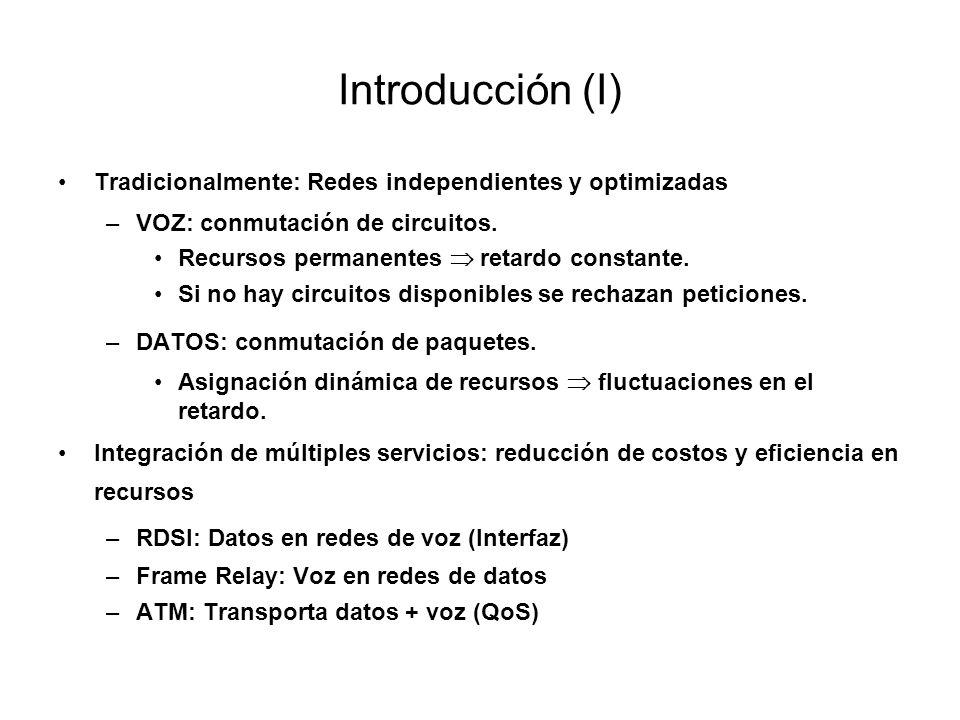 Introducción (I) Tradicionalmente: Redes independientes y optimizadas –VOZ: conmutación de circuitos. Recursos permanentes retardo constante. Si no ha