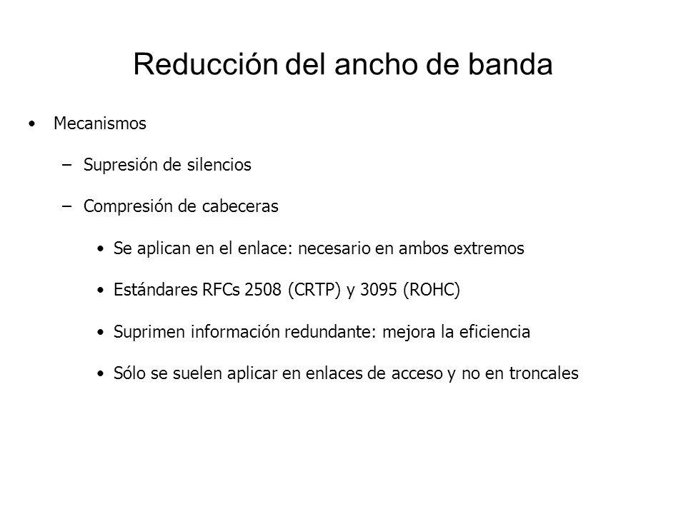Reducción del ancho de banda Mecanismos –Supresión de silencios –Compresión de cabeceras Se aplican en el enlace: necesario en ambos extremos Estándar