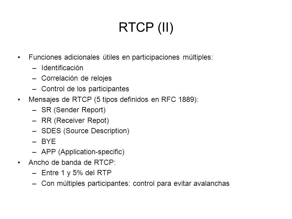 RTCP (II) Funciones adicionales útiles en participaciones múltiples: –Identificación –Correlación de relojes –Control de los participantes Mensajes de