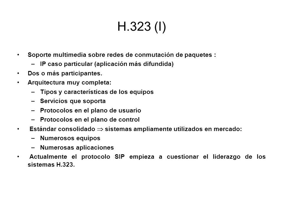H.323 (I) Soporte multimedia sobre redes de conmutación de paquetes : –IP caso particular (aplicación más difundida) Dos o más participantes. Arquitec