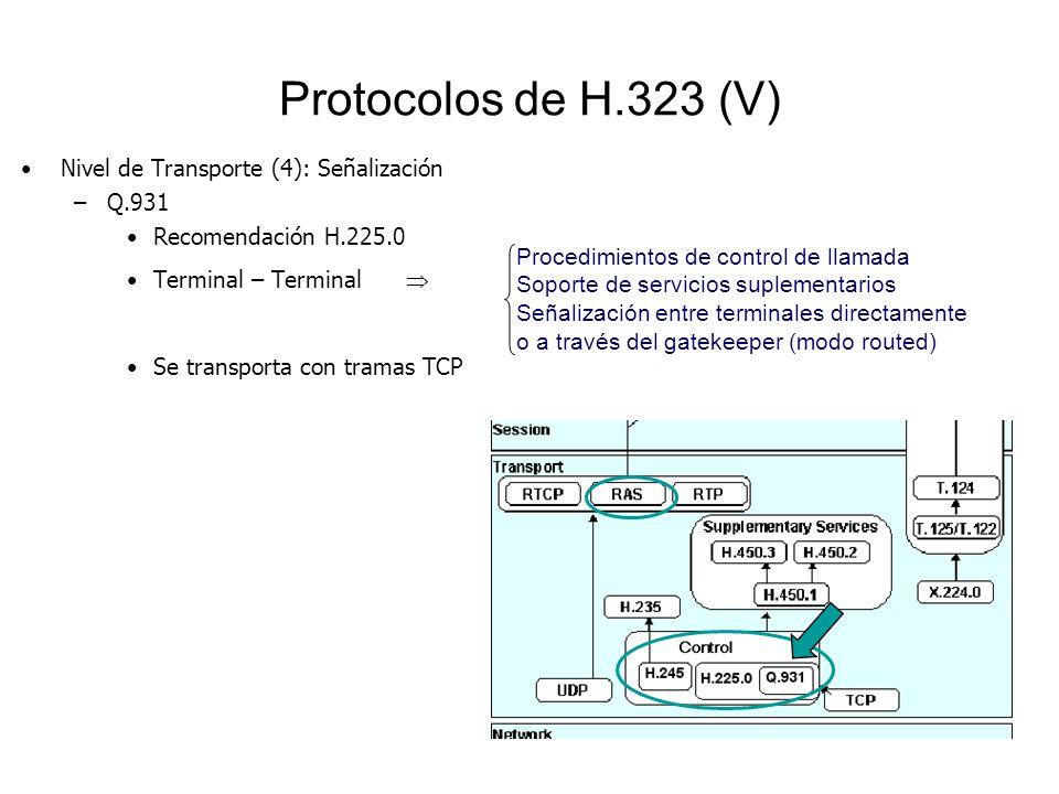 Protocolos de H.323 (V) Nivel de Transporte (4): Señalización –Q.931 Recomendación H.225.0 Terminal – Terminal Se transporta con tramas TCP Procedimie