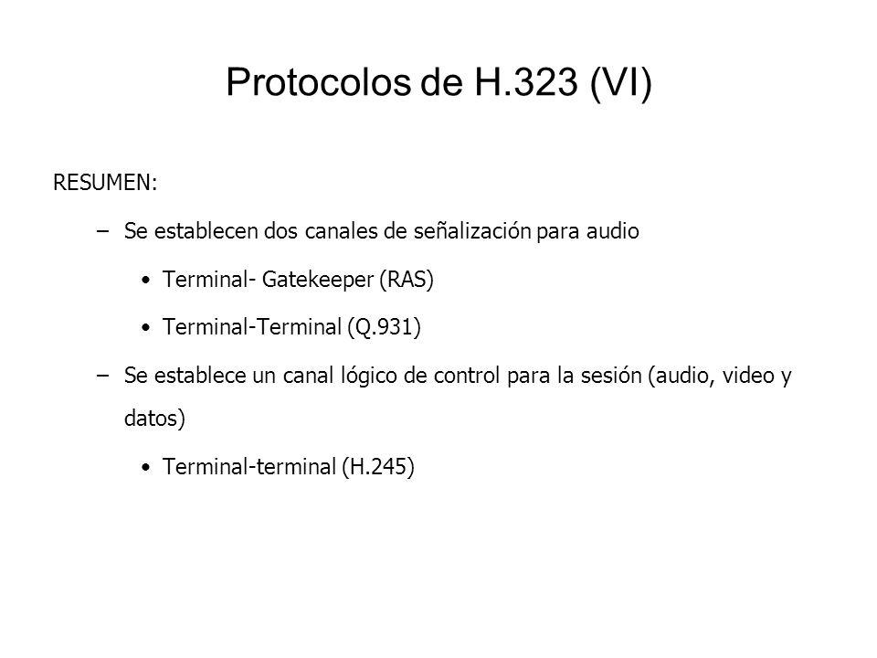 Protocolos de H.323 (VI) RESUMEN: –Se establecen dos canales de señalización para audio Terminal- Gatekeeper (RAS) Terminal-Terminal (Q.931) –Se estab