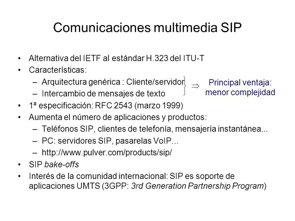 Comunicaciones multimedia SIP Alternativa del IETF al estándar H.323 del ITU-T Características: –Arquitectura genérica : Cliente/servidor –Intercambio