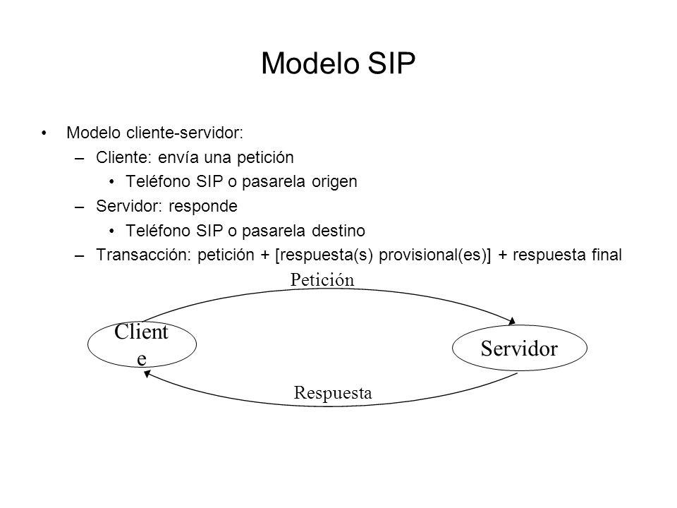 Modelo SIP Modelo cliente-servidor: –Cliente: envía una petición Teléfono SIP o pasarela origen –Servidor: responde Teléfono SIP o pasarela destino –T