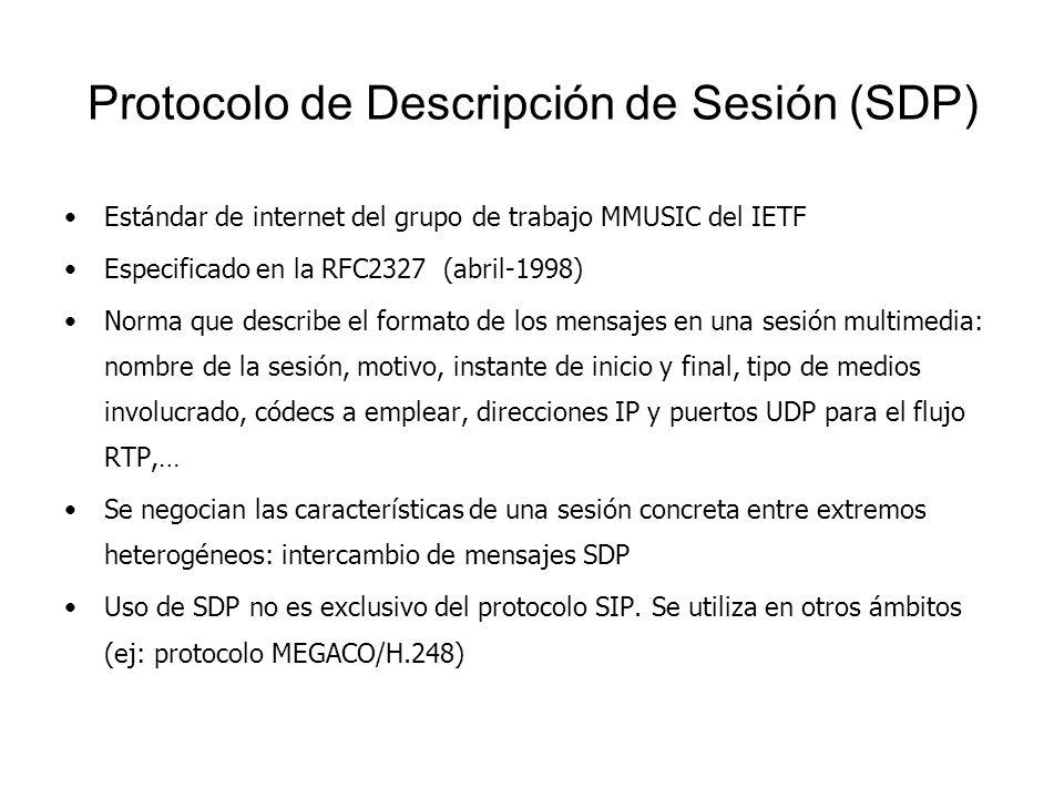 Protocolo de Descripción de Sesión (SDP) Estándar de internet del grupo de trabajo MMUSIC del IETF Especificado en la RFC2327 (abril-1998) Norma que d
