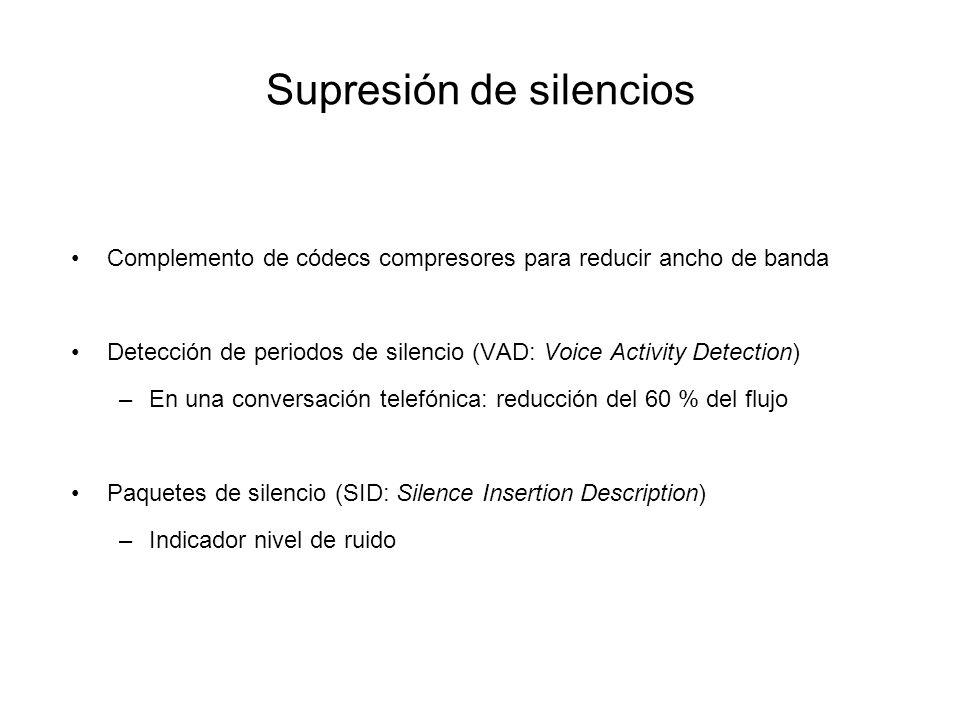 Supresión de silencios Complemento de códecs compresores para reducir ancho de banda Detección de periodos de silencio (VAD: Voice Activity Detection)