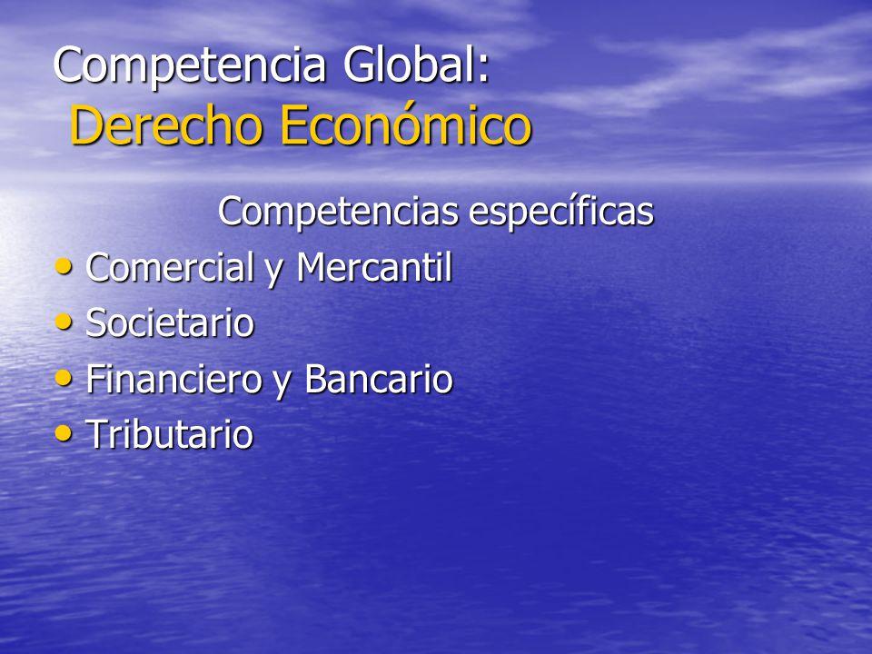 Competencia Global: Derecho Económico Competencias específicas Comercial y Mercantil Comercial y Mercantil Societario Societario Financiero y Bancario
