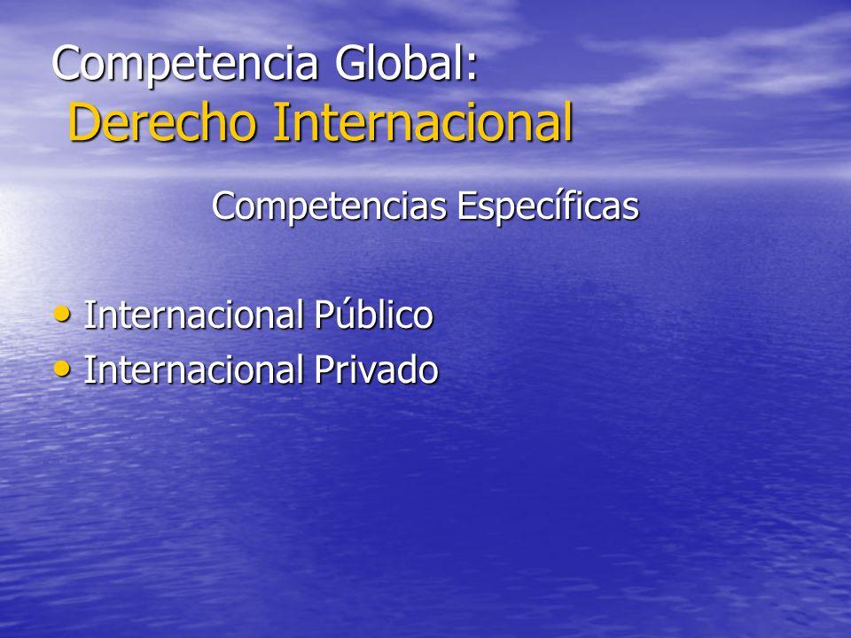Competencia Global: Derecho Internacional Competencias Específicas Internacional Público Internacional Público Internacional Privado Internacional Pri