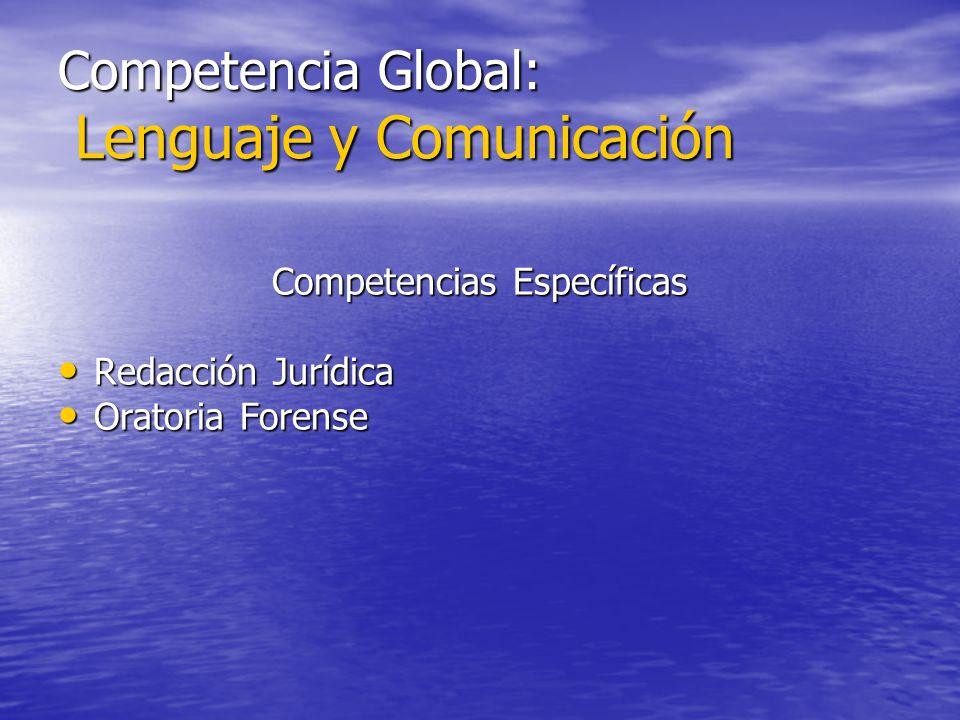 Competencia Global: Lenguaje y Comunicación Competencias Específicas Redacción Jurídica Redacción Jurídica Oratoria Forense Oratoria Forense