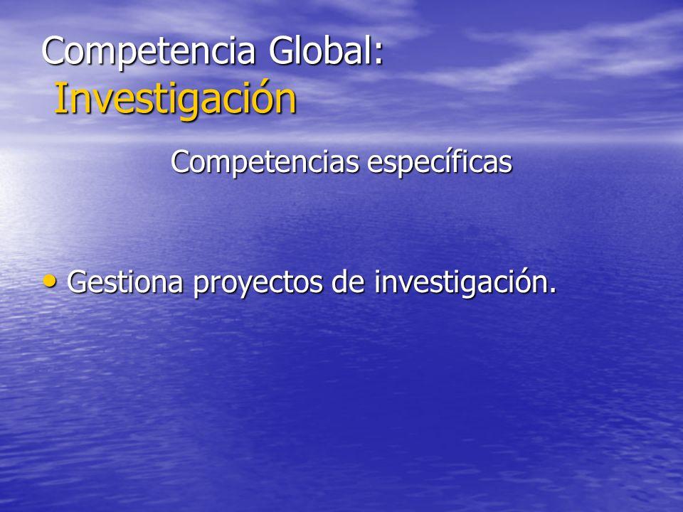 Competencia Global: Investigación Competencias específicas Gestiona proyectos de investigación. Gestiona proyectos de investigación.