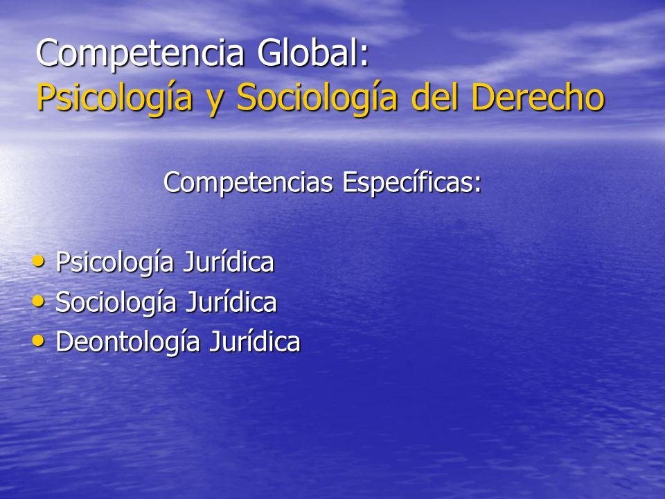 Competencia Global: Psicología y Sociología del Derecho Competencias Específicas: Psicología Jurídica Psicología Jurídica Sociología Jurídica Sociolog