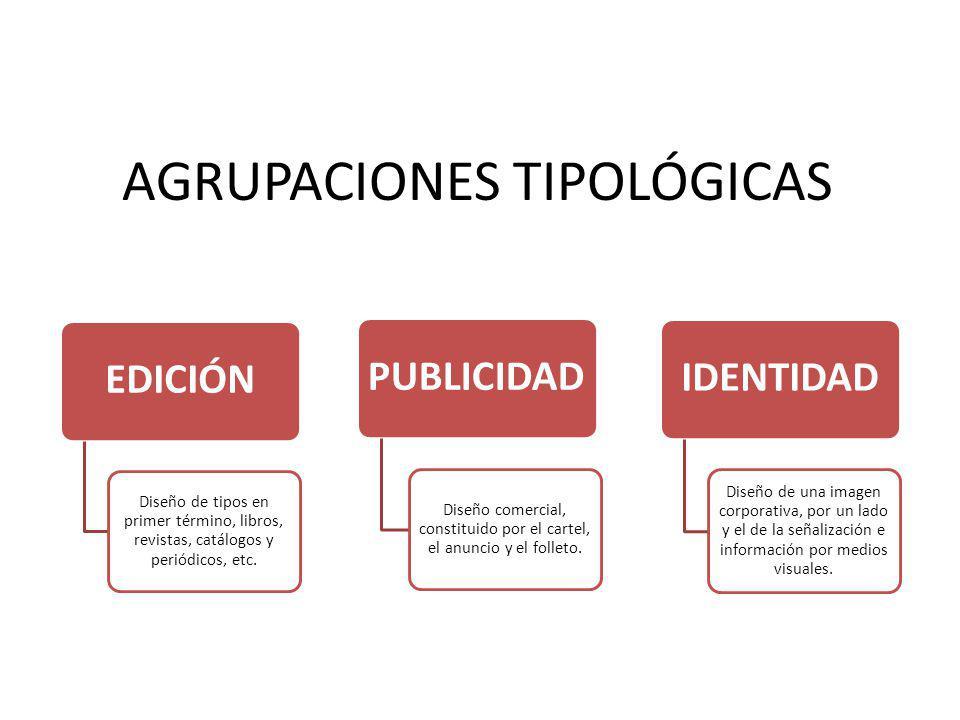 AGRUPACIONES TIPOLÓGICAS EDICIÓN Diseño de tipos en primer término, libros, revistas, catálogos y periódicos, etc. PUBLICIDAD Diseño comercial, consti