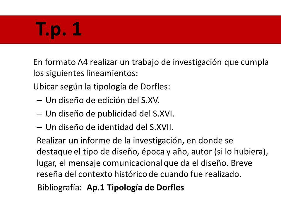 En formato A4 realizar un trabajo de investigación que cumpla los siguientes lineamientos: Ubicar según la tipología de Dorfles: – Un diseño de edició