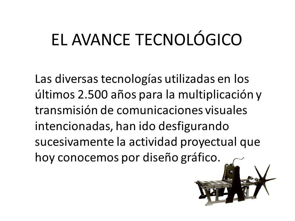 EL AVANCE TECNOLÓGICO Las diversas tecnologías utilizadas en los últimos 2.500 años para la multiplicación y transmisión de comunicaciones visuales in