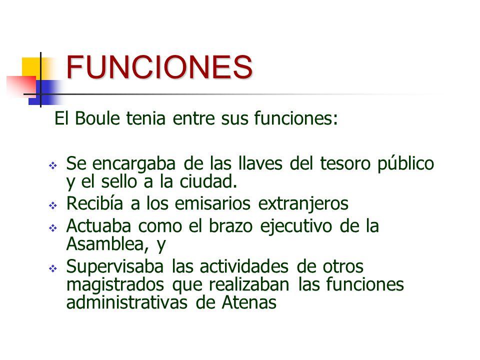 FUNCIONES El Boule tenia entre sus funciones: Se encargaba de las llaves del tesoro público y el sello a la ciudad. Recibía a los emisarios extranjero