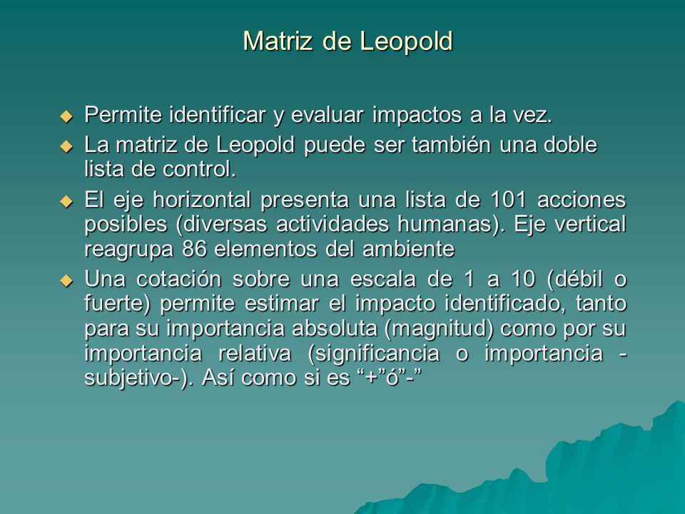 Matriz de Leopold Permite identificar y evaluar impactos a la vez. Permite identificar y evaluar impactos a la vez. La matriz de Leopold puede ser tam