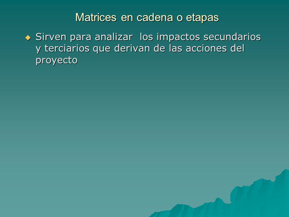 Matrices en cadena o etapas Sirven para analizar los impactos secundarios y terciarios que derivan de las acciones del proyecto Sirven para analizar l