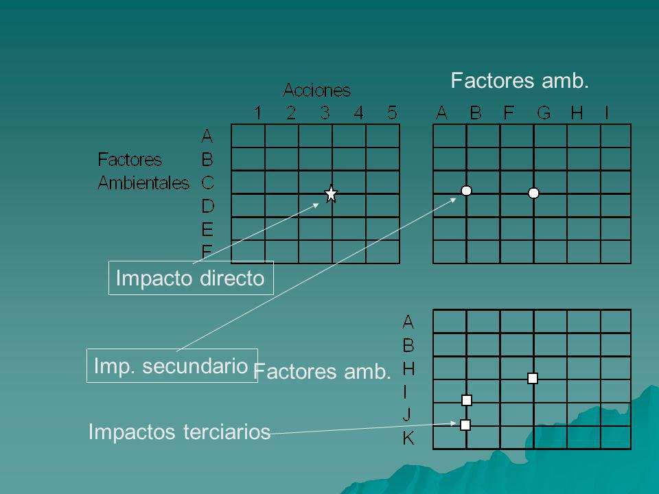 Factores amb. Impacto directo Imp. secundario Impactos terciarios