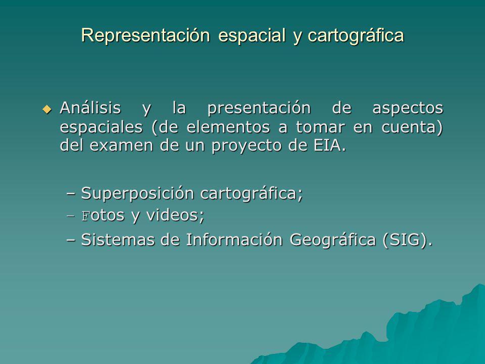 Representación espacial y cartográfica Análisis y la presentación de aspectos espaciales (de elementos a tomar en cuenta) del examen de un proyecto de