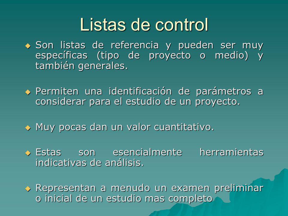 Listas de control Son listas de referencia y pueden ser muy específicas (tipo de proyecto o medio) y también generales. Son listas de referencia y pue