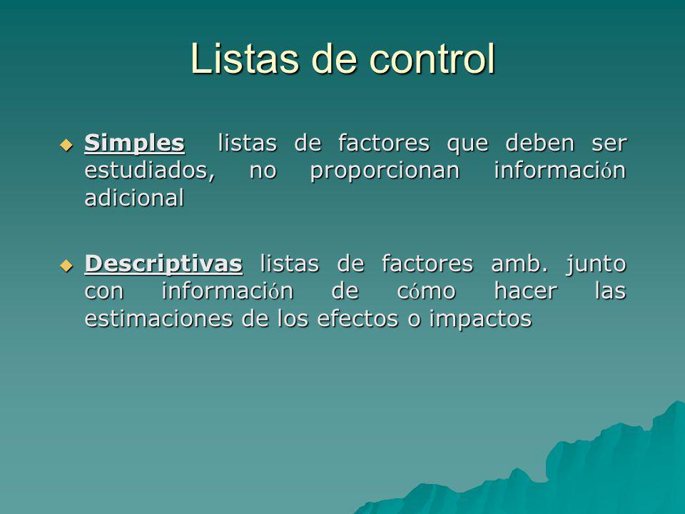 Listas de control Simples listas de factores que deben ser estudiados, no proporcionan informaci ó n adicional Simples listas de factores que deben se