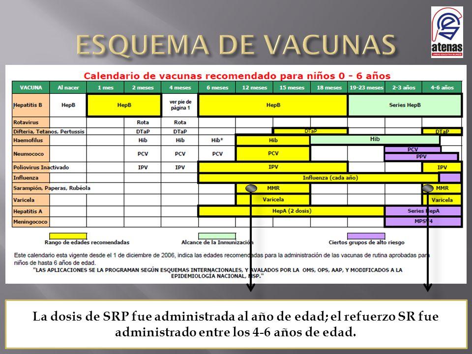 La dosis de SRP fue administrada al año de edad; el refuerzo SR fue administrado entre los 4-6 años de edad.