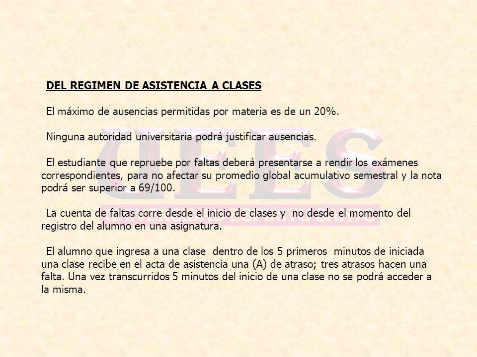 DEL REGIMEN DE ASISTENCIA A CLASES El máximo de ausencias permitidas por materia es de un 20%. Ninguna autoridad universitaria podrá justificar ausenc