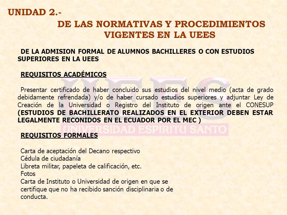 DE LAS NORMATIVAS Y PROCEDIMIENTOS VIGENTES EN LA UEES UNIDAD 2.- DE LA ADMISION FORMAL DE ALUMNOS BACHILLERES O CON ESTUDIOS SUPERIORES EN LA UEES RE