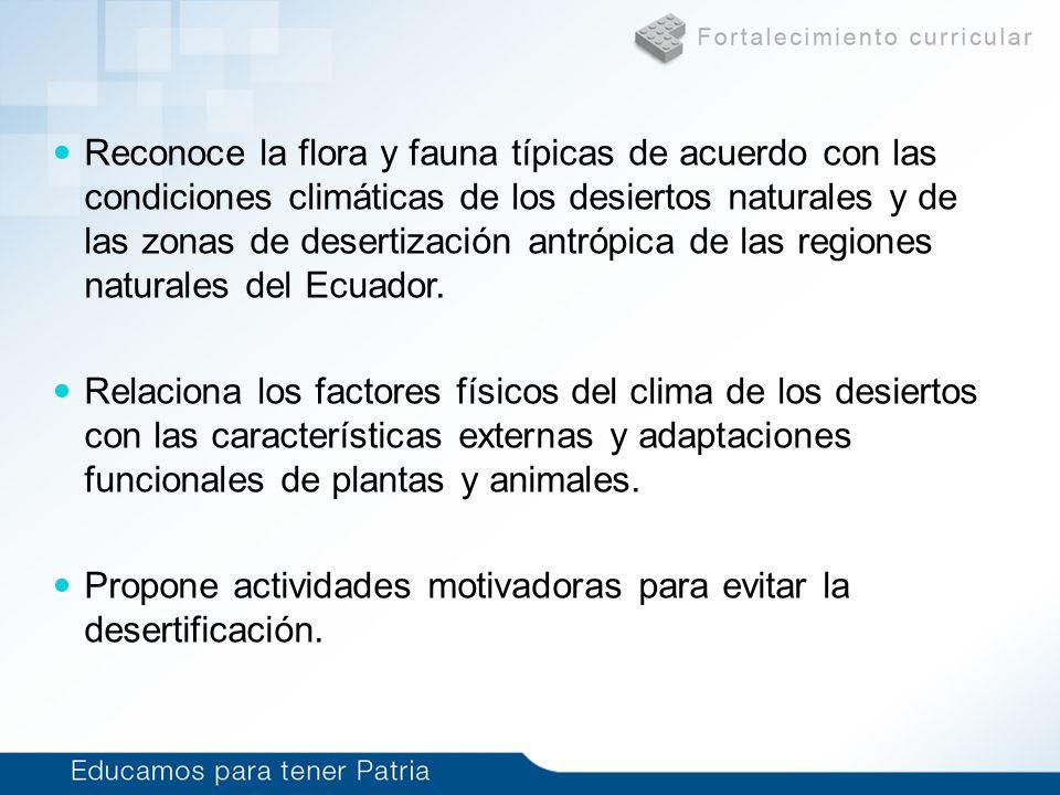 Reconoce la flora y fauna típicas de acuerdo con las condiciones climáticas de los desiertos naturales y de las zonas de desertización antrópica de la