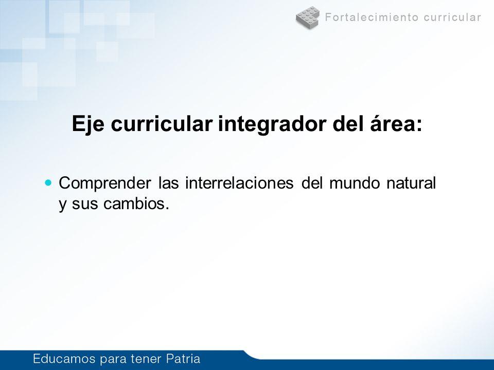 Eje curricular integrador del área: Comprender las interrelaciones del mundo natural y sus cambios.