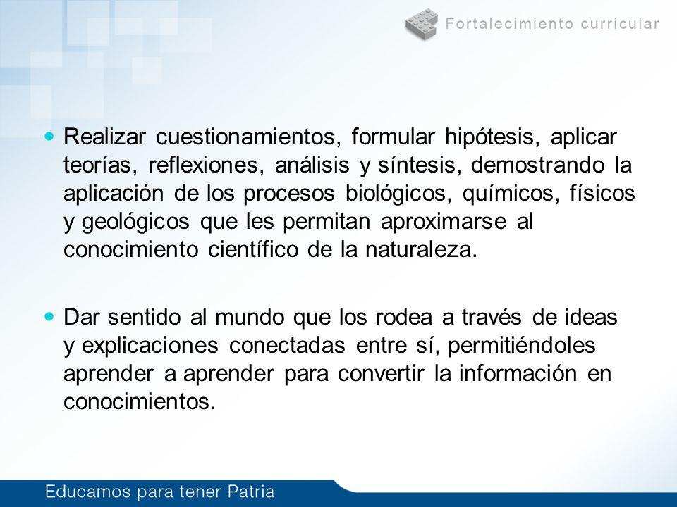 Realizar cuestionamientos, formular hipótesis, aplicar teorías, reflexiones, análisis y síntesis, demostrando la aplicación de los procesos biológicos